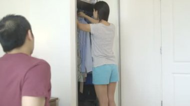 Young woman in bedroom — Stock Video