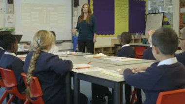 Woman teaching children — Stock Video