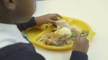 Schoolboy in catering — Stock Video