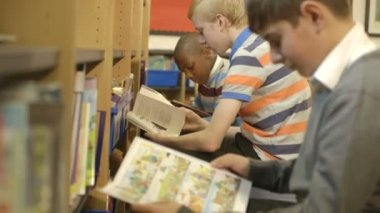 Schoolboys reading books — Stock Video