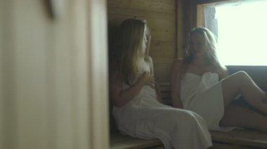 Frauen reden in sauna — Stockvideo