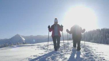 Senior couple in snow — Stock Video