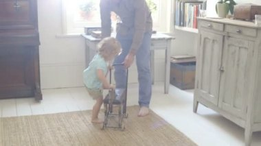 Father and daughter playing with toy horse — Stock Video