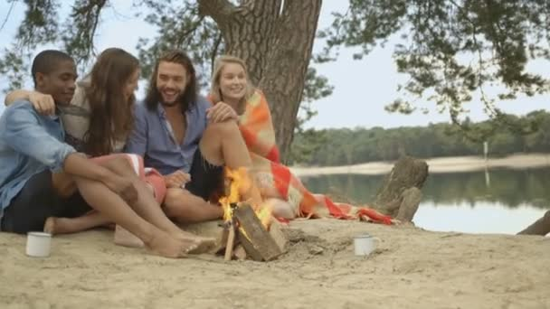 Couples sitting near campfire — Vídeo de stock