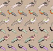 Vintage seamless pattern of bird — Stock Vector