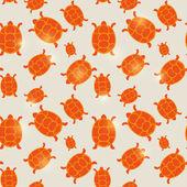 Seamless orange turtle pattern — Stock Vector