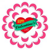 Happy Valentine's Day greeting card with decorative paper flower — Vettoriale Stock