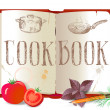 Cookbook and vegetables — Stock Vector #69332543