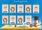 School album yearbook and books — Stock Vector