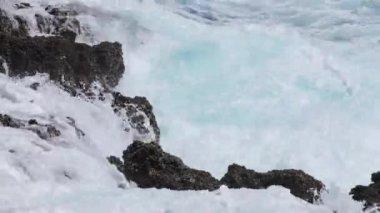 Ocean wave splash on the reef — Stock Video