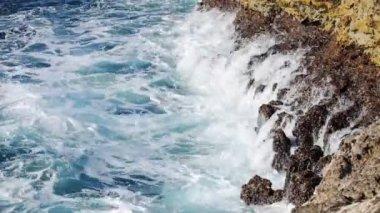Ocean wave splash on the reef video — Stock Video