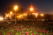 Scenic of twilight at Wat Rat Natda Ram Worawihan Monastery. — Foto de Stock