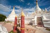 White Pagoda near Maha Aung Mye Bon Zan Monastery. — Stock Photo