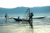 Traditional fishing by net in Inle Lake,Myanmar. — Stock Photo