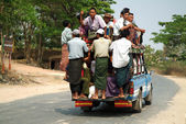 Passengers crowded on car in Myanmar. — Stock Photo