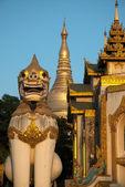 Lion guardian statue in Shwedagon Pagoda,Yangon,Myanmar. — Stock Photo