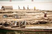 Bamboo raft on port activities on Ayeyarwaddy river,Myanmar. — Photo
