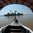 Boat to the temple in lake at Syriam city , Myanmar. — Stock Photo #57567611