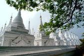 Group of Stupas in the Kuthodaw temple,Myanmar. — Stock Photo