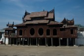 Nyan Shwe - Kguo is the famous wooden temple at Shan state in Myanmar. — Stock Photo