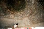 Man inside a Mingun bell in Myanmar. — Stock Photo