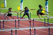 100 m. Hurdles in Thailand Open Athletic Championship 2013. — Stock Photo