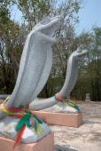 Stone twin big snakes sculpture . — 图库照片