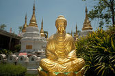 Golden Buddha front of twenty pagodas temple in Thailand. — Stock Photo