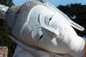 Face of outdoor famous Reclining Buddha in Thailand. — Stock Photo