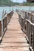 The traditional wooden  long bridge over the sea,Thailand. — Stock Photo