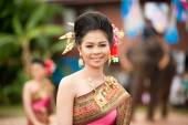 Pretty woman in traditional dress in Ordination parade. — Stock Photo