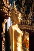 Standing Buddha front of Church on Thai temple in Thailand. — Foto de Stock