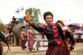 Group of traditional dancing in Ordination parade on elephant's  — Stock Photo