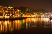 Twilight scene of Fenghuang ancient city. — Stock Photo