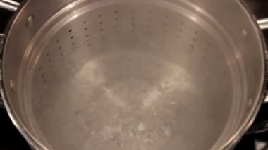 Water Boiling in Pan — Stock Video