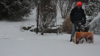 Man with Snowblower — Stock Video