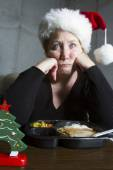 Unhappy Woman Having TV Dinner for Christmas — Stock Photo