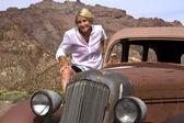 Active Retiree on Antique Car — Stock Photo