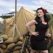 PinUp posing on Bike — Stock Photo #74686497