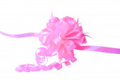 A pink ribbon with a bow — Stock Photo