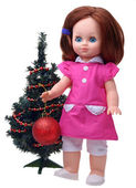 Antique Doll decorating christmas tree — Stockfoto