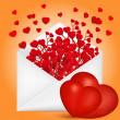 Valentine's Day composition with envelope and red hearts branch — Stock Vector #63840453