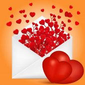 Valentine's Day composition with envelope and red hearts branch  — Vettoriale Stock