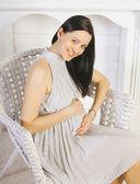 Portrait joyful pregnant girl — Stock Photo