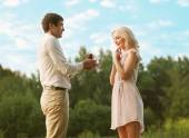 Love, relationship, couple, wedding, romantic man proposing to a — Stock Photo
