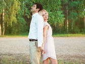 Pretty woman and man, lovely young couple in love — Stok fotoğraf