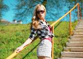 Summer fashion portrait pretty woman — Stock Photo