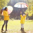Family with colorful umbrella having fun enjoying weather in aut — Stok fotoğraf #53726139