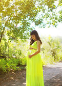 Elegant pregnant woman in dress outdoors summer — Stock Photo