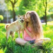 Dog and owner summer — Stock Photo #53777405
